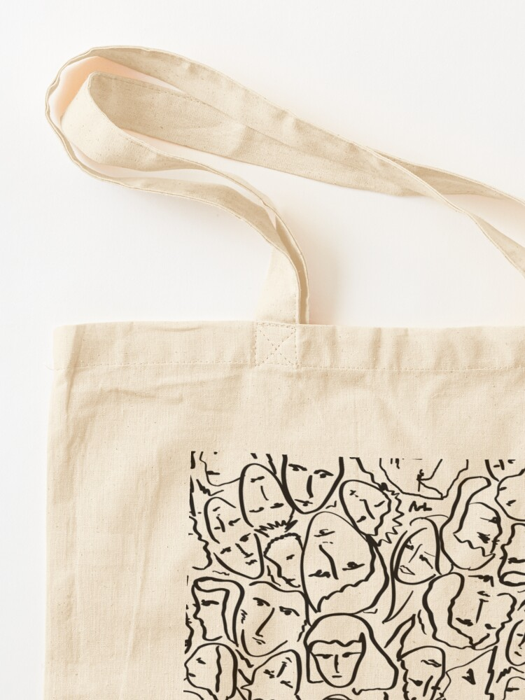 Alternate view of Call Me By Your Name Elios Shirt Faces in Black Outlines on White CMBYN Tote Bag