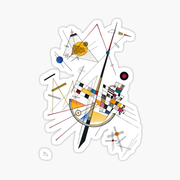 Kandinsky Delicate Tension No. 85, 1923 Artwork Reproduction, Design for Posters, Prints, Tshirts, Men, Women, Kids, Youth Sticker