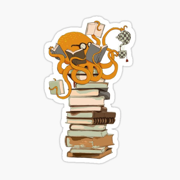 Reading Octopus, tea, coffee and books gift Sticker