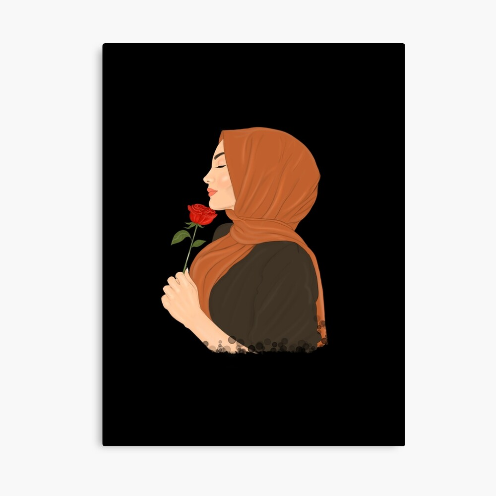 Hijab Muslimah Girl Holding Flower Quote Drawing Black Background Photographic Print By Imanitasong Redbubble