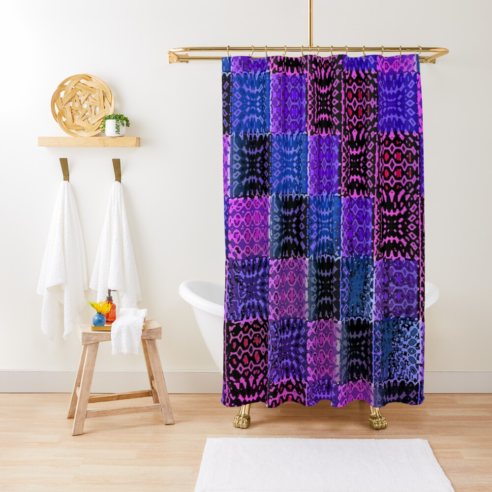 Metallic Gypsy Psychedelic Patchwork Shower Curtain