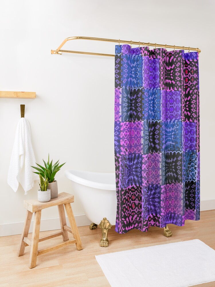 Alternate view of Metallic Gypsy Psychedelic Patchwork Shower Curtain