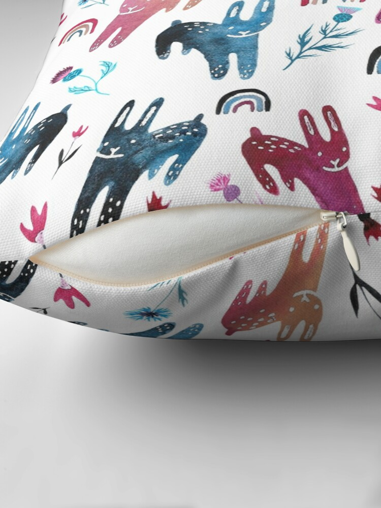 Alternate view of Rainbow Bunnies and florals Floor Pillow