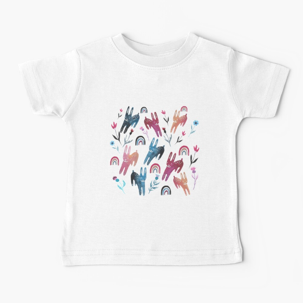 Rainbow Bunnies and florals Baby T-Shirt