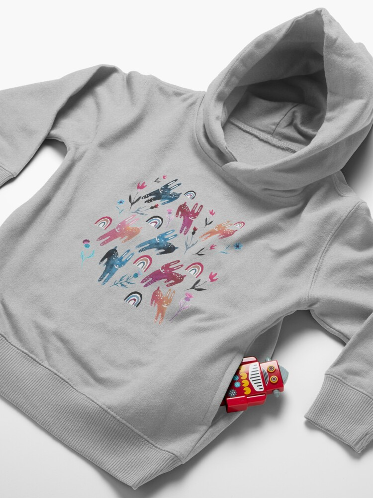 Alternate view of Rainbow Bunnies and florals Toddler Pullover Hoodie