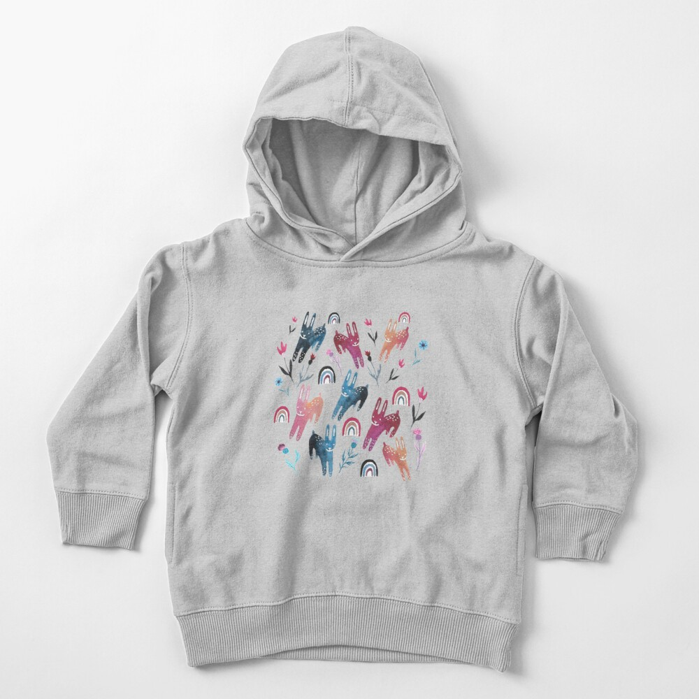 Rainbow Bunnies and florals Toddler Pullover Hoodie