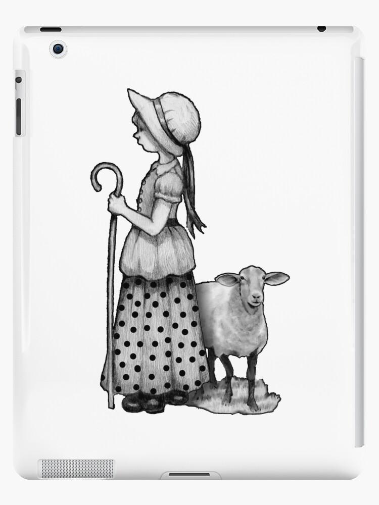 little bo peep with sheep original pencil drawing nursery rhyme art ipad case skin by joyce redbubble