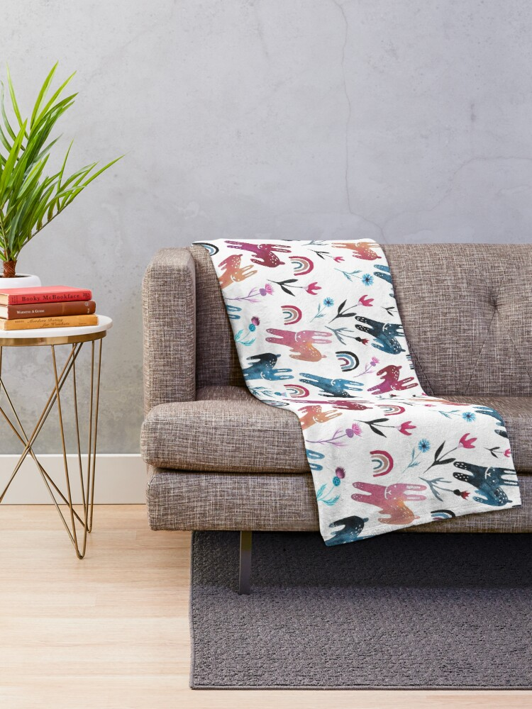 Alternate view of Rainbow Bunnies and florals Throw Blanket