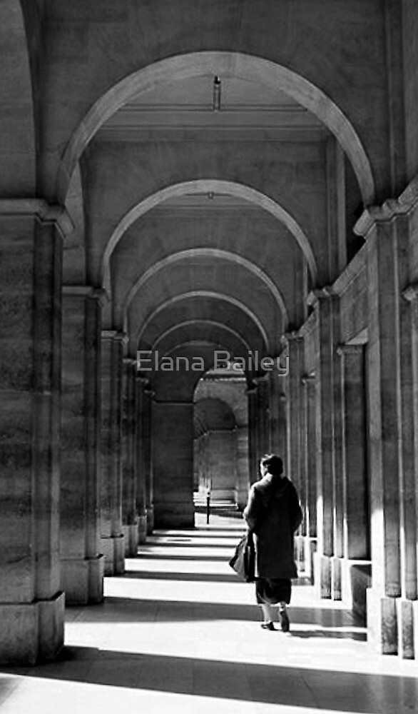 Lady walking through Parisian archways, Paris by Elana Bailey