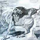 Reprod of Horse Attacked By a Lion by Stubbs by Donna Macarone