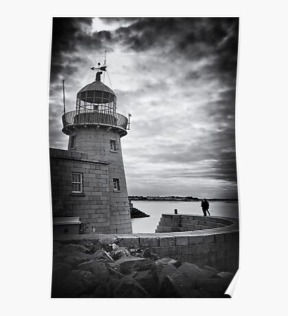 Lighthouse and silhouettes.. Poster
