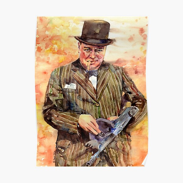 Winston Churchill With A Tommy Gun Poster