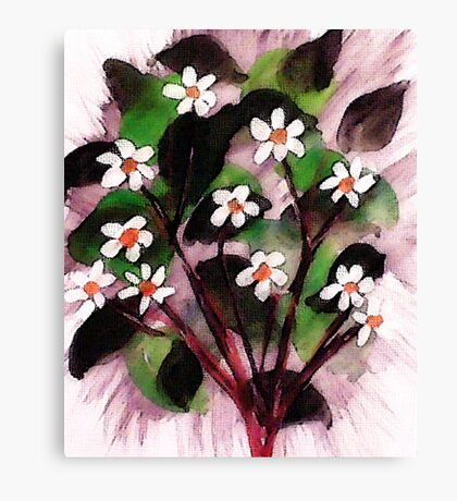 Little flowers in abstract, watercolor Canvas Print