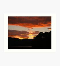 Sunset over Lake of Menteith, Trossachs Art Print