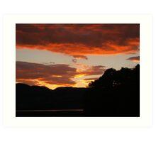 Sunset over Lake of Menteith, Trossachs Art Print