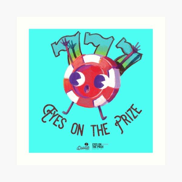 """""""Eyes on the Prize"""", caricatura retro de ficha de poker Lámina artística"""