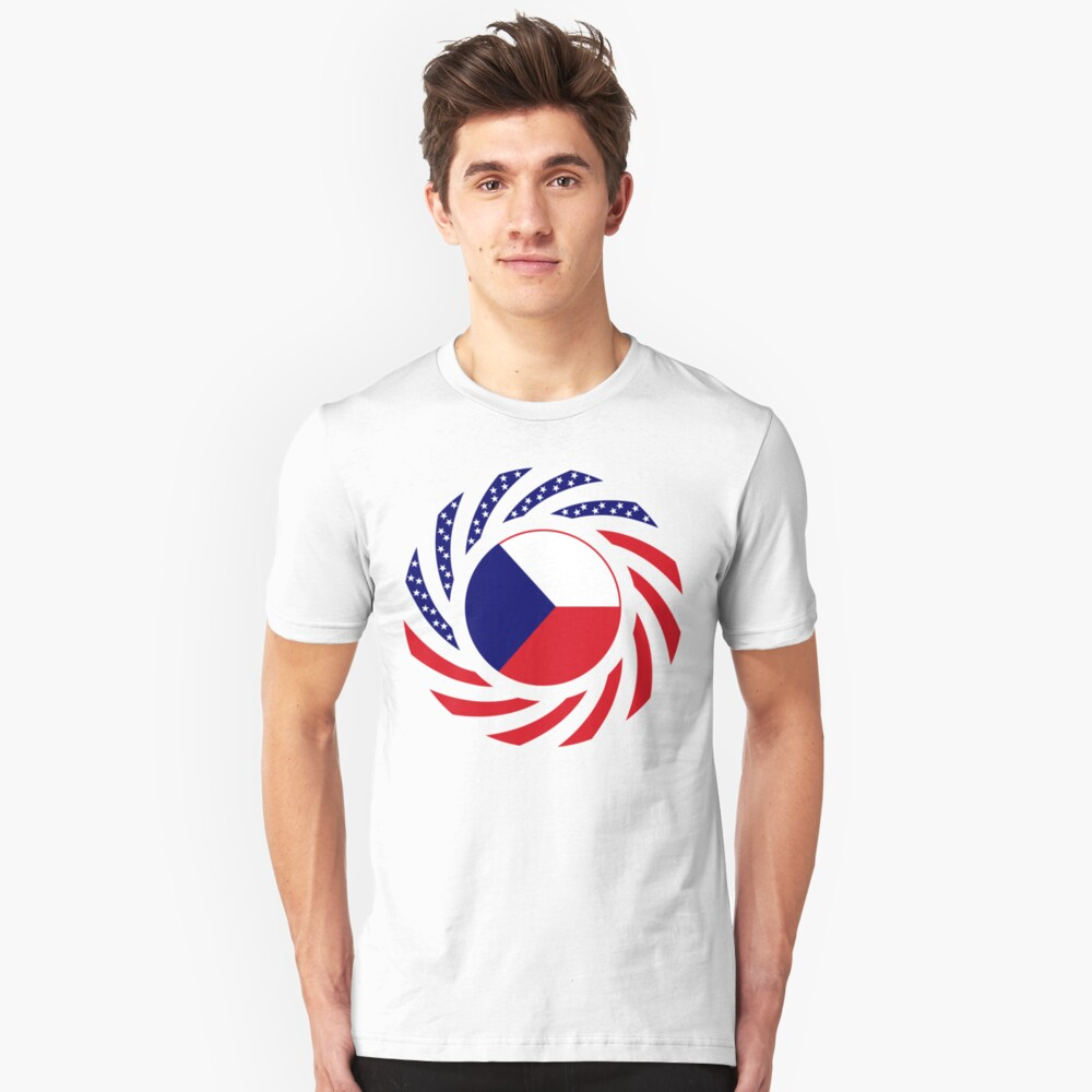 Czech American Multinational Patriot Flag Series Slim Fit T-Shirt