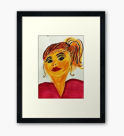 Lady  in ponytail, watercolor Framed Print