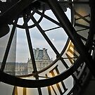 Looking towards the Louvre from inside the Musée d'Orsay, Paris by Ruth Durose