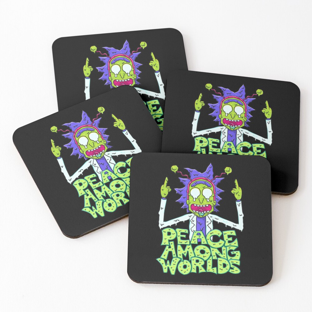 peace among worlds Rick and Morty  melting Coasters (Set of 4)