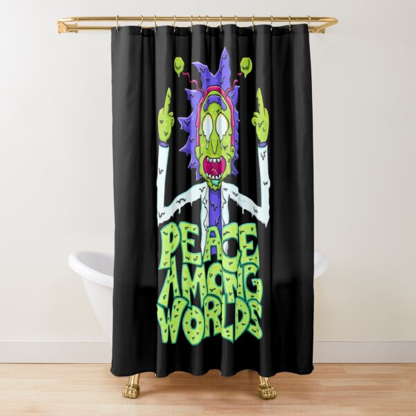 peace among worlds Rick and Morty  melting Shower Curtain