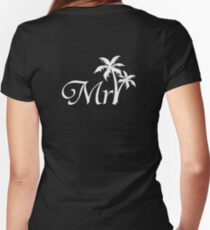 Mister Mr and Mrs Beach Wedding Honeymoon Matching Women's Fitted V-Neck T-Shirt