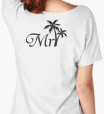 Mister Mr and Mrs Wedding Honeymoon Palm Tree Women's Relaxed Fit T-Shirt