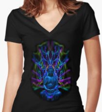 Psychedelic Buddah Women's Fitted V-Neck T-Shirt