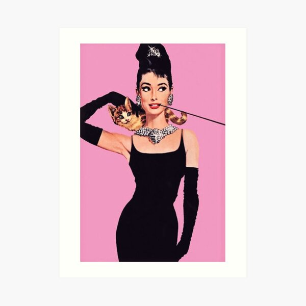 Audrey Hepburn ( Holly Golightly) Breakfast of Tiffany's with Cat  Art Print