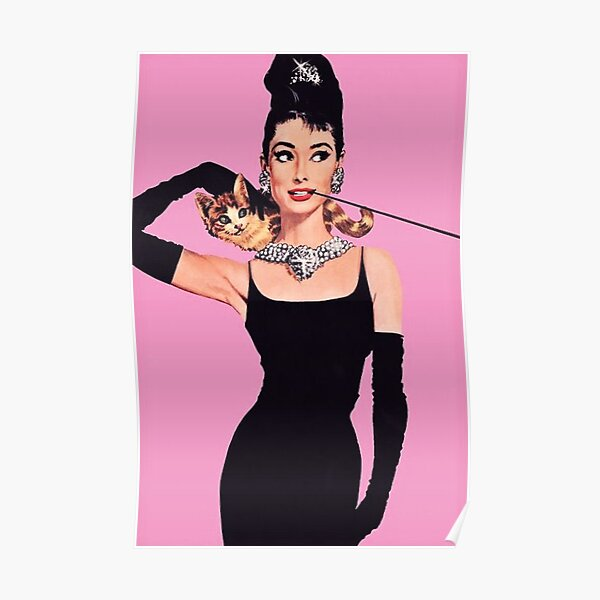 Audrey Hepburn ( Holly Golightly) Breakfast of Tiffany's with Cat  Poster