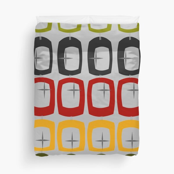 Mid-Century Ovals and Stars Duvet Cover