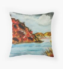 A nice place to go rafting, watercolor Throw Pillow