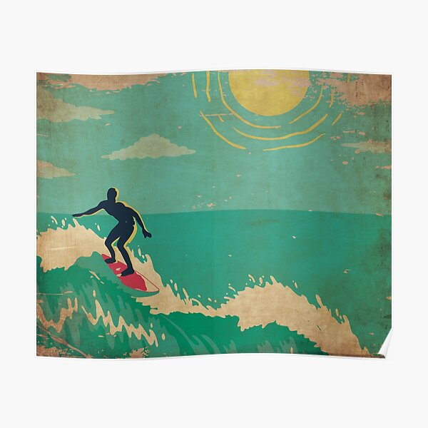 Surf's Up Hawaii Vintage Kitschy Tropical Holiday Poster
