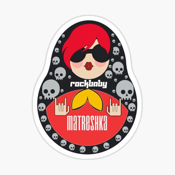 Awesome matryoshka rock baby doll Pattern  Sticker