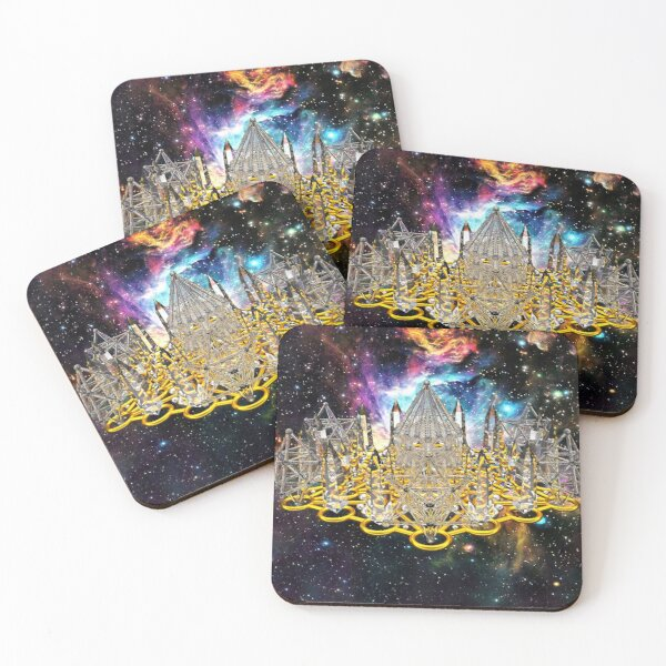 Crystal Hexagrid Matrix Stargate Coasters (Set of 4)