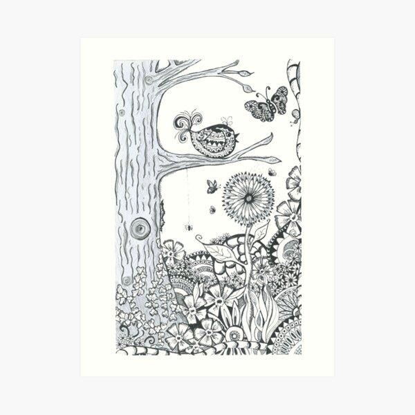 Doodle Art Summer Woodland Art Print