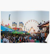 Crowds and Rides at the CNE Midway Poster