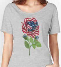 ♥ º ☆.¸¸.•´¯`♥ Stars & Stripes Rose T-Shirt ♥ º ☆.¸¸.•´¯`♥ Women's Relaxed Fit T-Shirt
