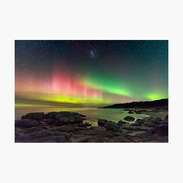 Aurora over Beerbarrel Beach, Tasmania Photographic Print