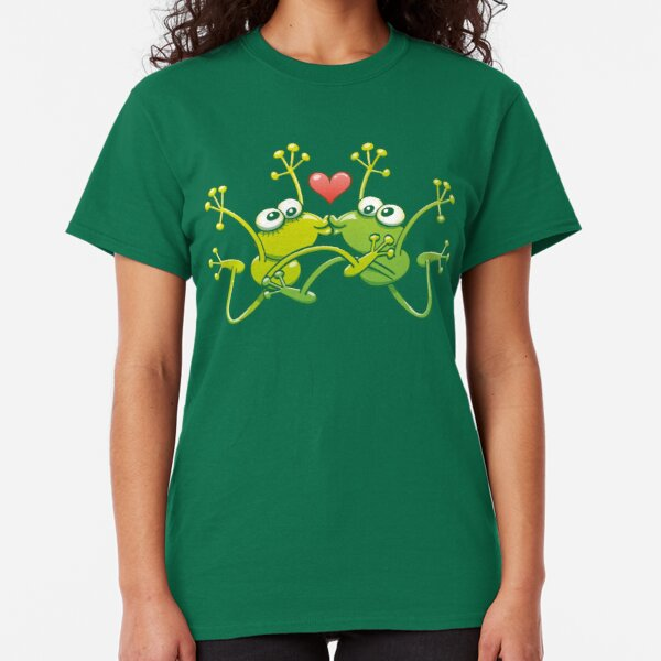 Funny green frogs falling in love while performing an acrobatic kiss Classic T-Shirt