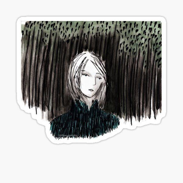 Portrait in a Forest (teal jacket) Sticker