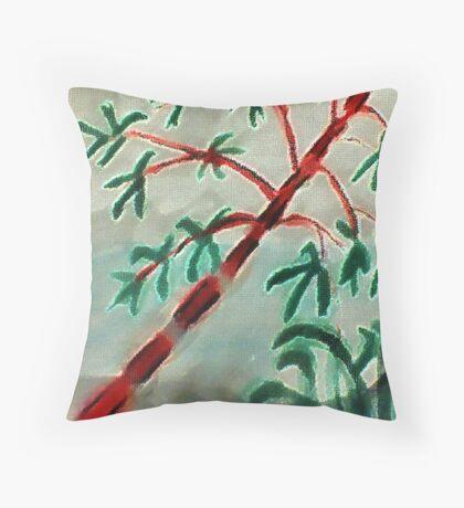 Bambo at sunset, watercolor Throw Pillow