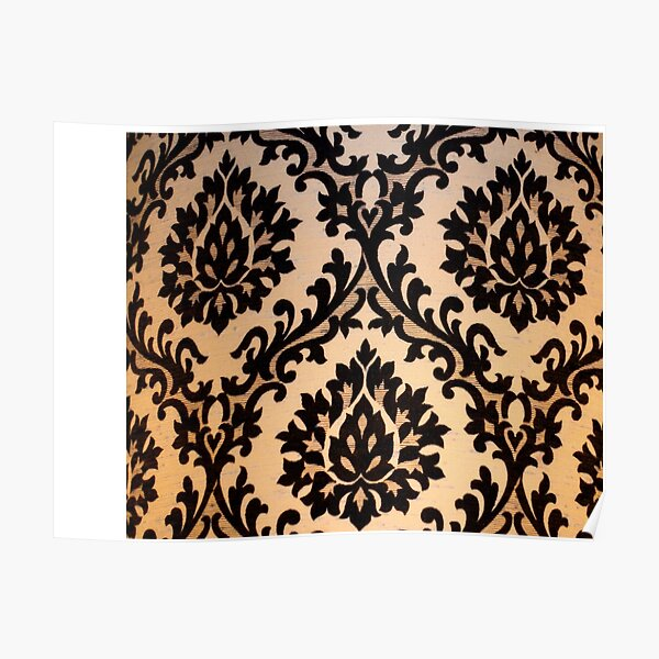 Black and Gold Damask Pattern Merchandise Poster