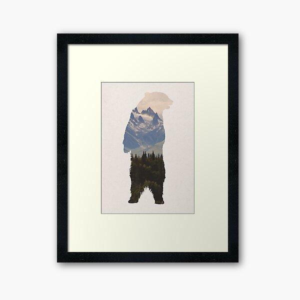 Bear with woodland scene Framed Art Print