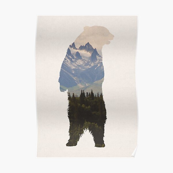 Bear with woodland scene Poster