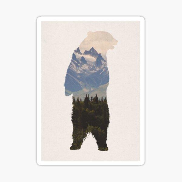 Bear with woodland scene Sticker