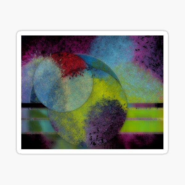 Worlds Collide - Abstract Digital Painting Wall Art Original Geometric Painting Sticker