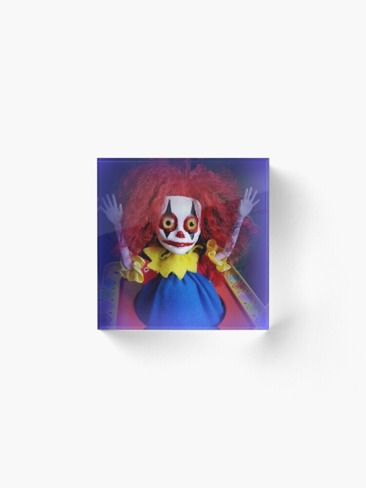 Alternate view of Jack In The Box Clown Horror Doll ~ Lady Scream Acrylic Block