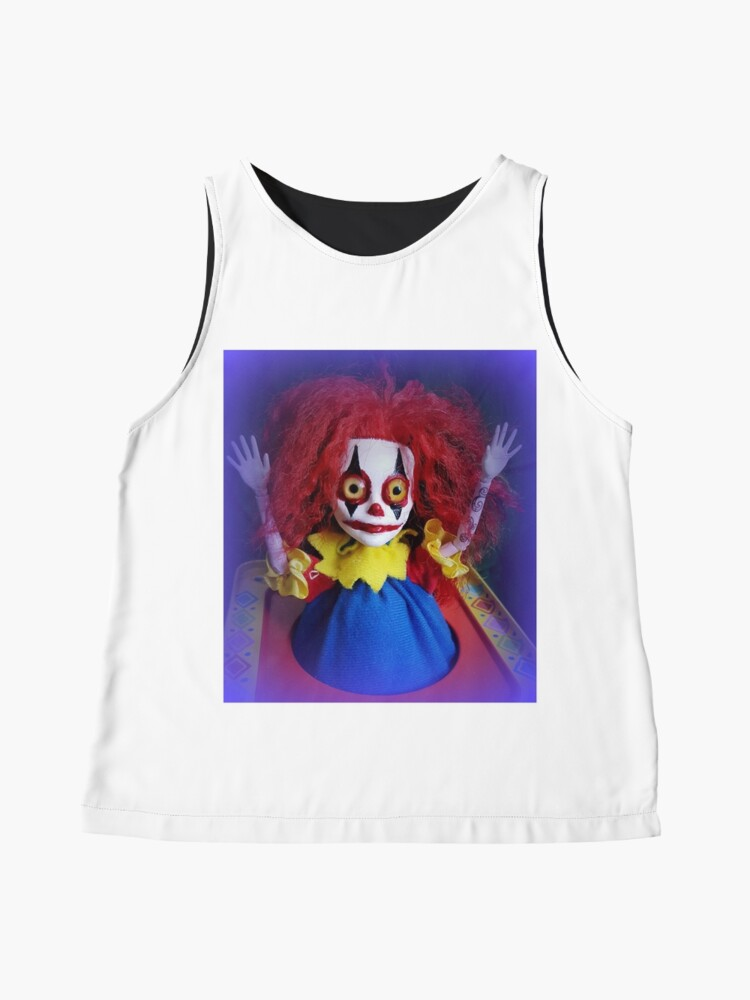 Alternate view of Jack In The Box Clown Horror Doll ~ Lady Scream Sleeveless Top