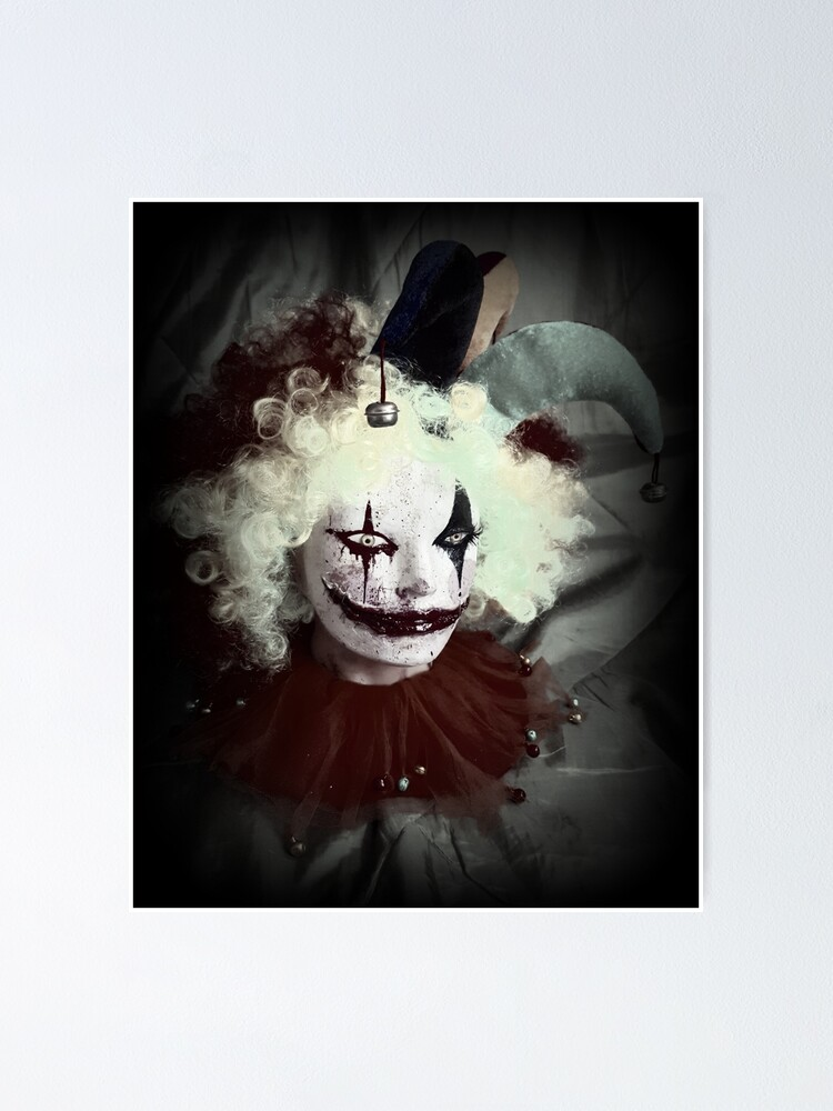 Alternate view of Jester Clown Horror Head ~ Lady Scream Poster